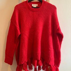Kate Spade BROOME ST   Red Alpaca Tassel Sweater